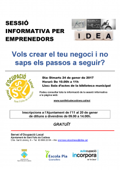 Sessió informativa per emprenedors